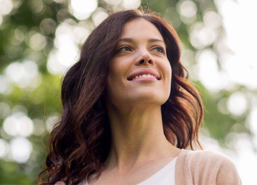 Woman with great skin following microneedling